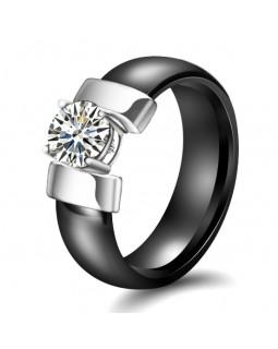 Кольцо керамическое «Silver-Jo» черное