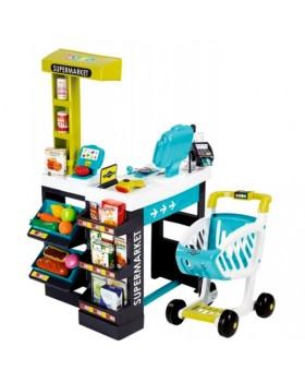 Интерактивный супермаркет с тележкой, продуктами и аксессуарами