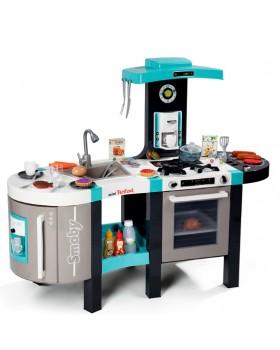 Интерактивная кухня «Тефаль Френч»большая с эффектом кипения, звук.ефектом, аксес., голубая