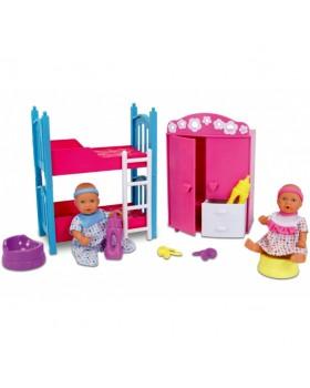 Набо кукол функциональный 2 мини-пупса с двухярусной кроваткой