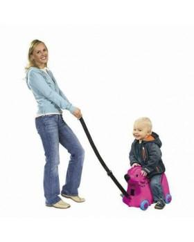 Каталка для малыша «Путешествие» с отделением для вещей, розовая