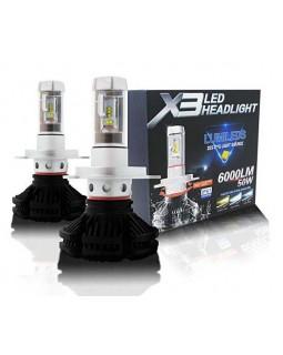 Светодиодные LED лампы для фар X3 H4 головной свет