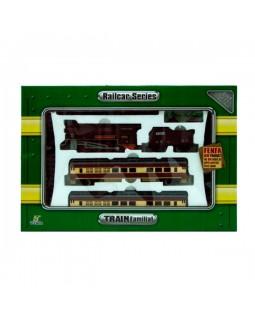 Детская железная дорога на батарейках поезд и 3 вагона