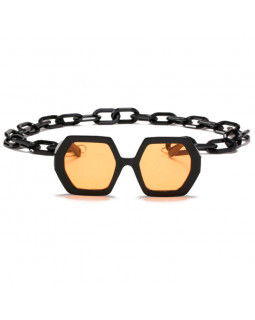 Солнцезащитные очки Dollishez Black-Yellow с цепочкой