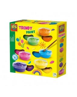 Гуашь Модные цвета в пластиковых баночках 6 цветов