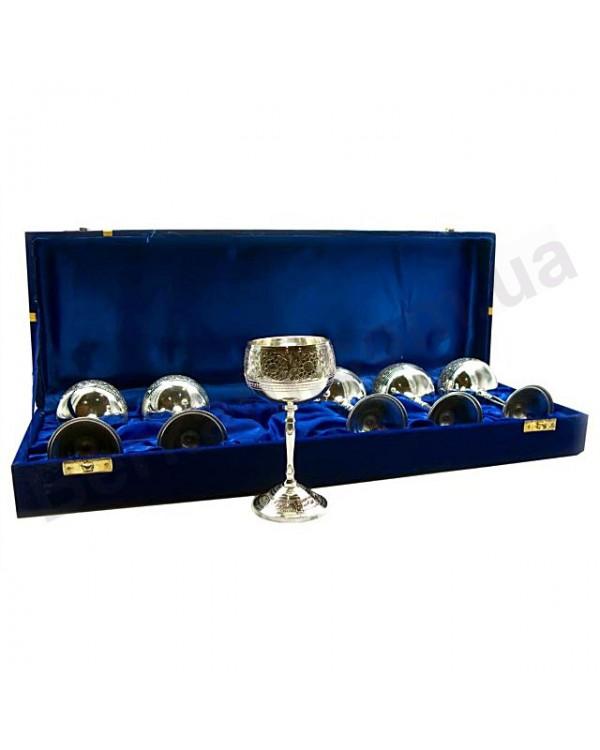 Бокалы бронзовые с посеребрением в синем подарочном кейсе
