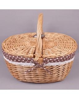 Корзина плетеная для пикника с двойной крышкой Пастораль