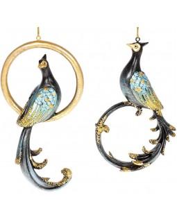 Набор 2 подвесные фигурки Павлин и Кольцо, темно-синий с золотом
