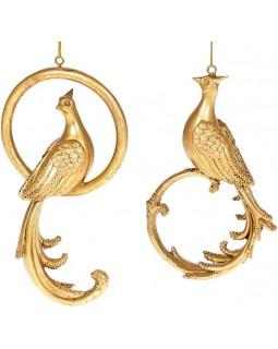 Набор 2 подвесные фигурки Павлин и Кольцо, золото