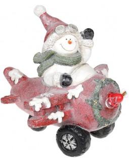 Декор Снеговик в красном самолете с LED подсветкой, керамика, 37.5х33х34.5см