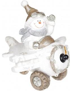 Декор Снеговик в белом самолете с LED подсветкой, керамика, 37.5х33х34.5см