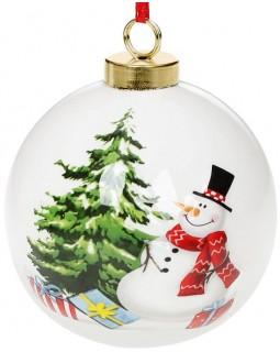 Набор керамических шаров С Новым Годом Снеговичок 8.2х8х9.7см, 4 штуки
