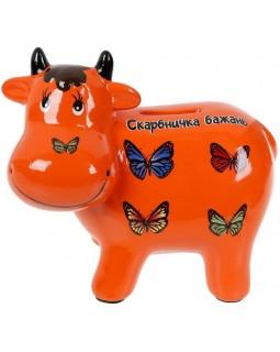 Копилка керамическая Коровка Скарбничка бажань 14х17см, оранжевая