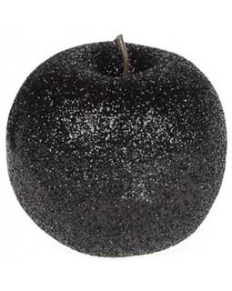 Набор 4 подвески Яблоко 6.5см черный с глиттером, пенопласт