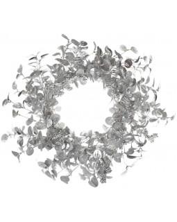 Декоративный новогодний венок Серебро диаметр 70см, полиэстер
