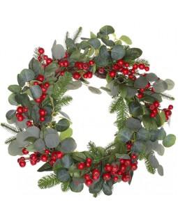 Декоративный новогодний венок Красные Ягоды диаметр 60см, искусственная хвоя