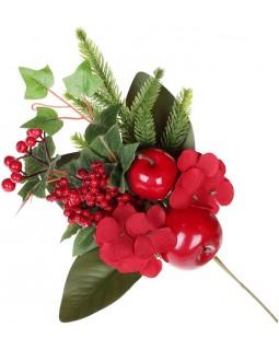 Декоративная ветка Ягоды и яблоки 33см