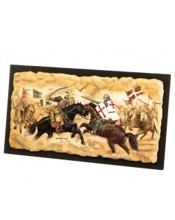 Панно настенное Всадники битва двух войск 42 см