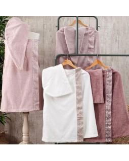 Женский набор полотенец Flor для сауны: полотенце-юбка на липучке, чалма, тапочки