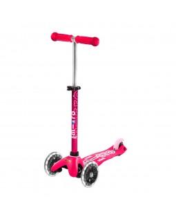 Детский самокат Deluxe led pink до 50 кг 3-х колесный