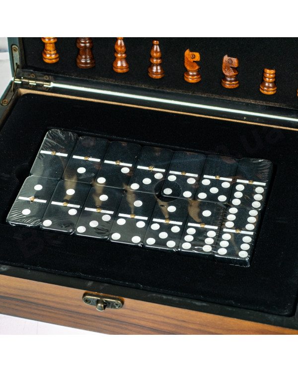 Подарочный набор 3в1 Шахматы домино карты 26х20х7 см