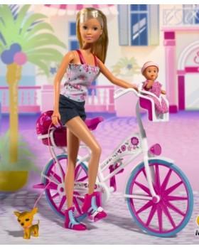 Кукла «Штеффи с малышом и чихуахуа» на велосипеде