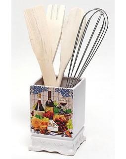 Подставка Cheese - Wine для кухонных принадлежностей + деревянные лопатки и венчик