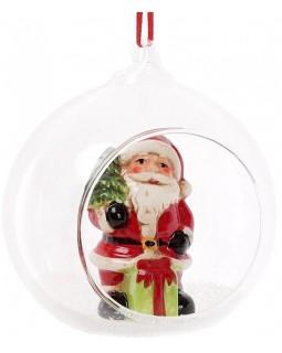 Набор 2 новогодние декоративные подвески Санта в шаре 10х8.9х10.5 см
