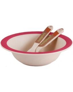 Детский набор Ежик миска, ложка и вилка из бамбукового волокна